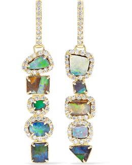 18-karat Gold, Opal And Diamond Earrings