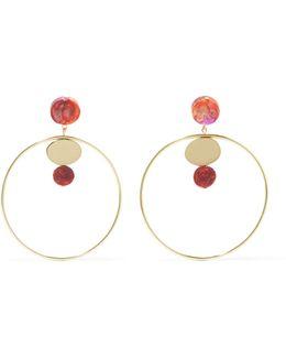 Circle Dot Gold-filled Resin Hoop Earrings
