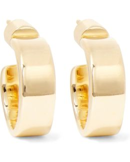 Flat Plate Huggie Gold-plated Hoop Earrings