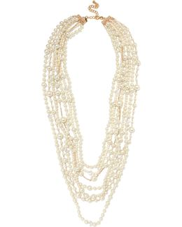Gold-plated, Crystal And Faux Pearl Necklace