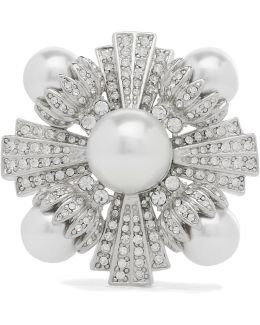Rhodium-plated, Faux Pearl And Crystal Brooch