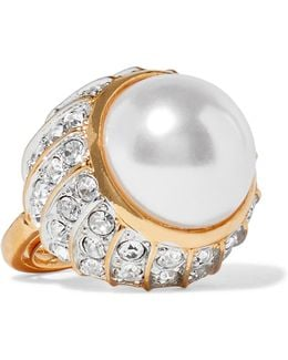 Gold-plated, Crystal And Faux Pearl Ring