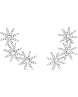 Starburst Silver-plated Cubic Zirconia Earrings