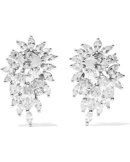 Cluster Rhodium-plated Cubic Zirconia Earrings