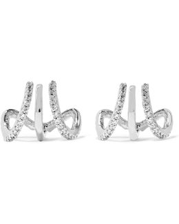 Silver-tone Cubic Zirconia Triple Hoop Earrings