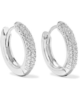 Silver-tone Cubic Zirconia Hoop Earrings