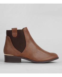 Tan Elasticated Sides Metal Trim Boots