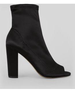 Black Satin Peep Toe Heeled Boots