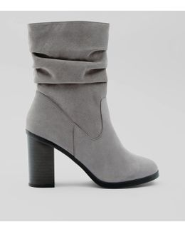 Grey Suedette Slouchy Block Heel Mid Calf Boots