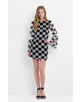 Checkerboard Bell Sleeve Dress