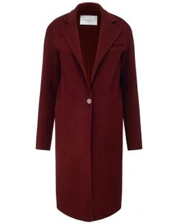 Single Button Burgundy Coat