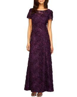 Sequin & Soutache Lace Gown