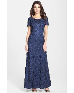 Sequin & Soutache Lace Gown