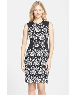 'laurine' Floral Lace Overlay Sheath Dress