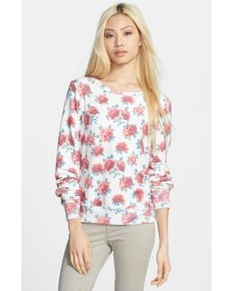 Rose Print Baggy Beach Jumper Pullover