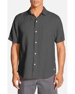 'sea Glass Breezer' Original Fit Short Sleeve Linen Shirt