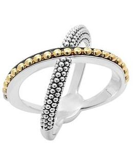 'enso' Caviar Crossover Ring