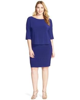 Shutter Pleat Popover Sheath Dress