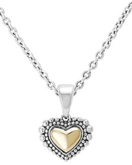 Two-tone Heart Pendant Necklace