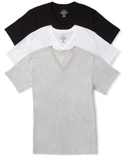 Assorted 3-pack Classic Fit Cotton V-neck T-shirt, White
