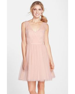 Tulle Overlay Lace Fit & Flare Dress
