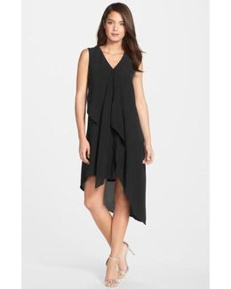 Ruffle Front Crepe High/low Dress