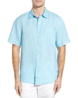 'sea Glass Breezer' Original Fit Short Sleeve Linen Shirt