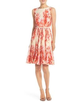 Floral-Print Pleated Fit-And-Flare Dress