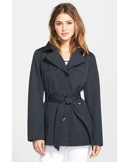 Cotton Blend Short Trench Coat