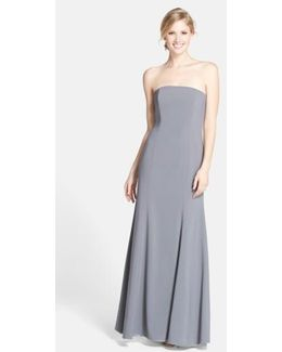 Strapless Crepe Trumpet Gown