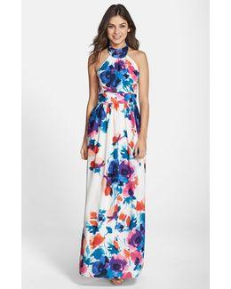 Floral Print Halter Maxi Dress