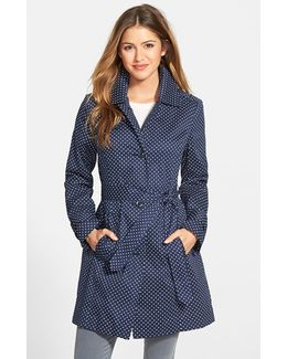 Polka Dot Single-Breasted Trench Coat