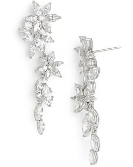 Floral Crystal Linear Drop Earrings