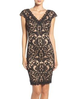 Corded Lace Tulle Sheath Dress