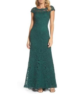 Corded Embroidery On Tulle Cap Sleeve Gown - Plus Size