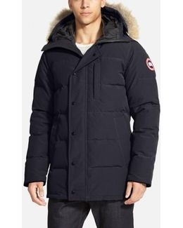 'carson' Slim Fit Hooded Packable Parka With Genuine Coyote Fur Trim, Black