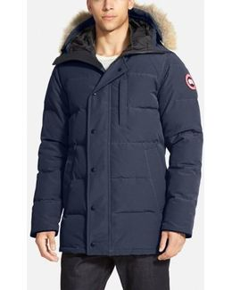 'carson' Slim Fit Hooded Packable Parka With Genuine Coyote Fur Trim, Blue