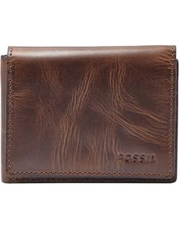 'derrick' Leather Flip Trifold Wallet