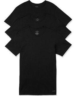 Slim Fit 3-pack Cotton T-shirt, Black