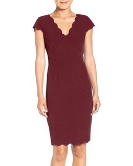 Scalloped Crepe Sheath Dress