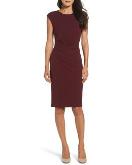 Ruched Ponte Sheath Dress