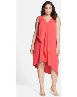 Sleeveless Asymmetrical Front Drape Crepe Shift Dress