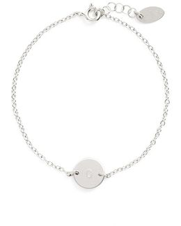Sterling Silver Mini Initial Disc Bracelet