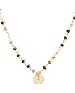 14k-gold Fill Mini Initial Disc Tourmaline Chain Necklace