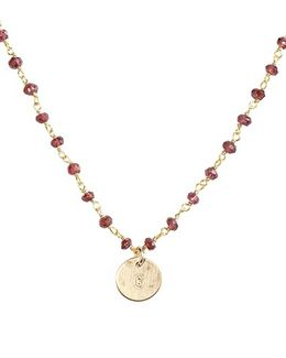 14k-gold Fill Mini Initial Disc Garnet Chain Necklace