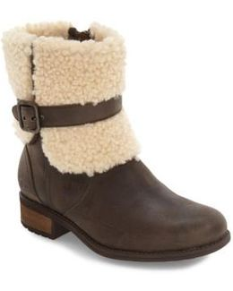 ® Blayre Ii Cold-weather Sheepskin Cuffed Leather Strap Detail Boots