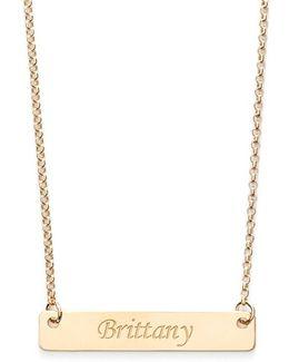 Personalized Script Bar Pendant Necklace