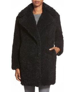 'teddy Bear' Notch Collar Faux Fur Coat