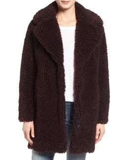 'teddy Bear' Notch Collar Faux Fur Coat