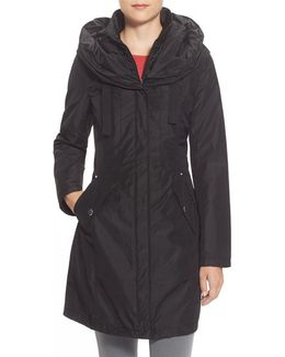 Pillow Collar Raincoat With Detachable Quilted Hooded Bib Insert